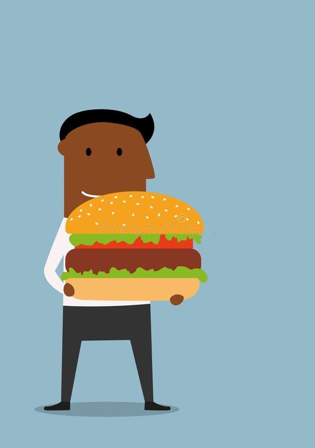 Homem de negócios com o grande Hamburger apetitoso ilustração royalty free