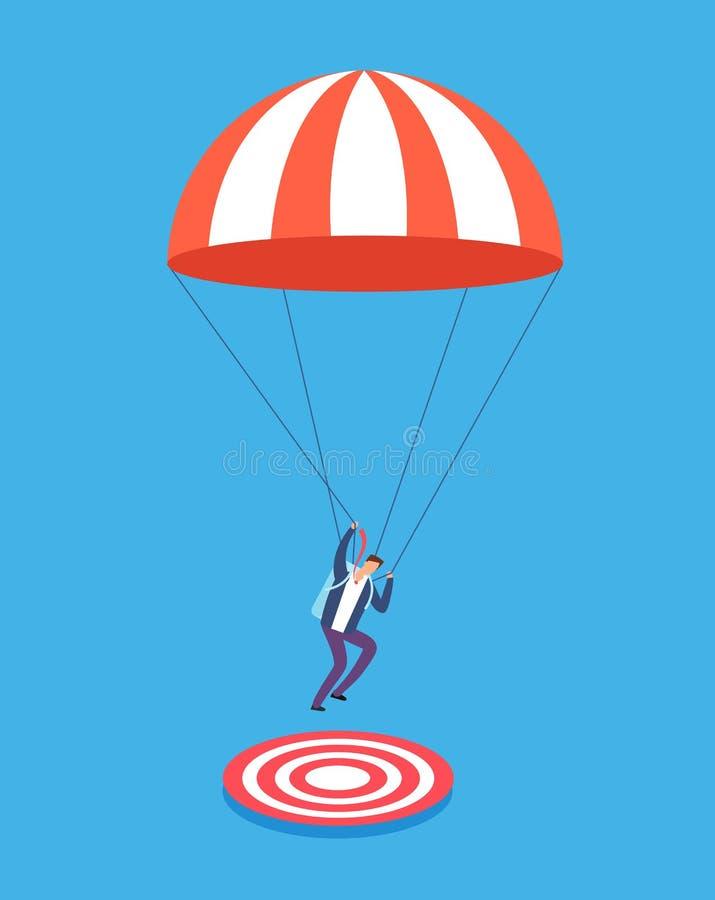 Homem de negócios com o paraquedas que aponta no alvo O negócio, o sucesso e o foco arriscados vector o conceito ilustração royalty free