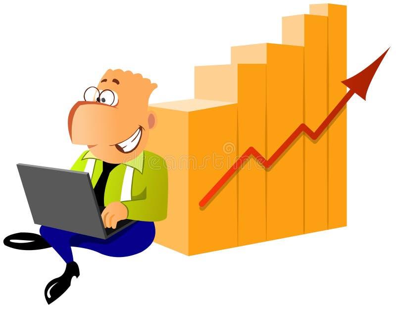 Homem de negócios com o portátil perto do diagrama dos succes ilustração stock