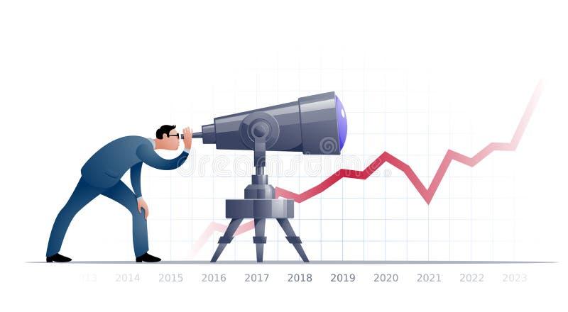 Homem de negócios com o telescópio que explorating o futuro ilustração royalty free