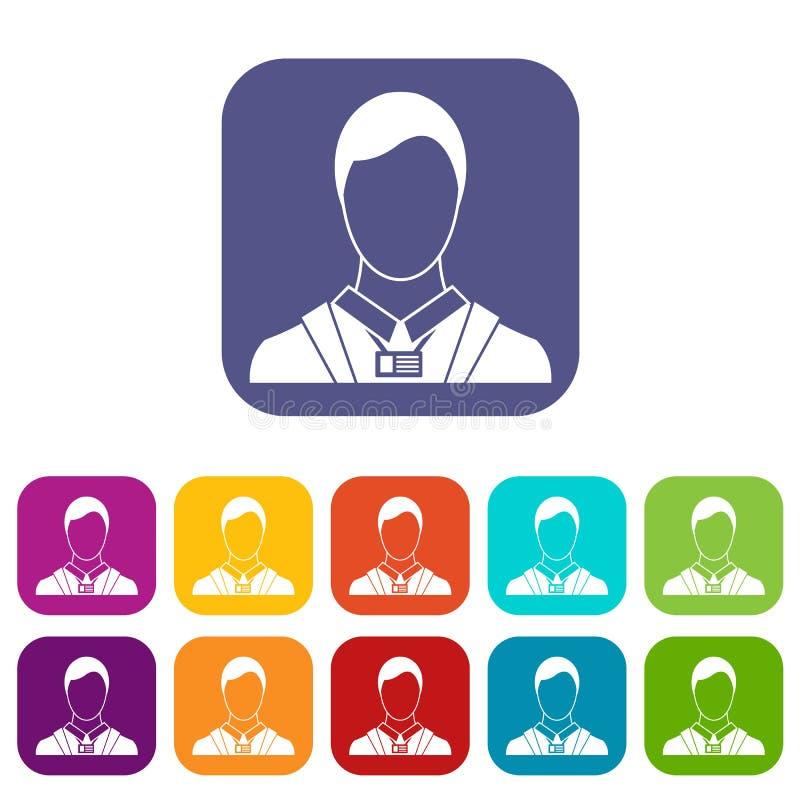 Homem de negócios com os ícones do cartão de nome da identidade ajustados ilustração stock