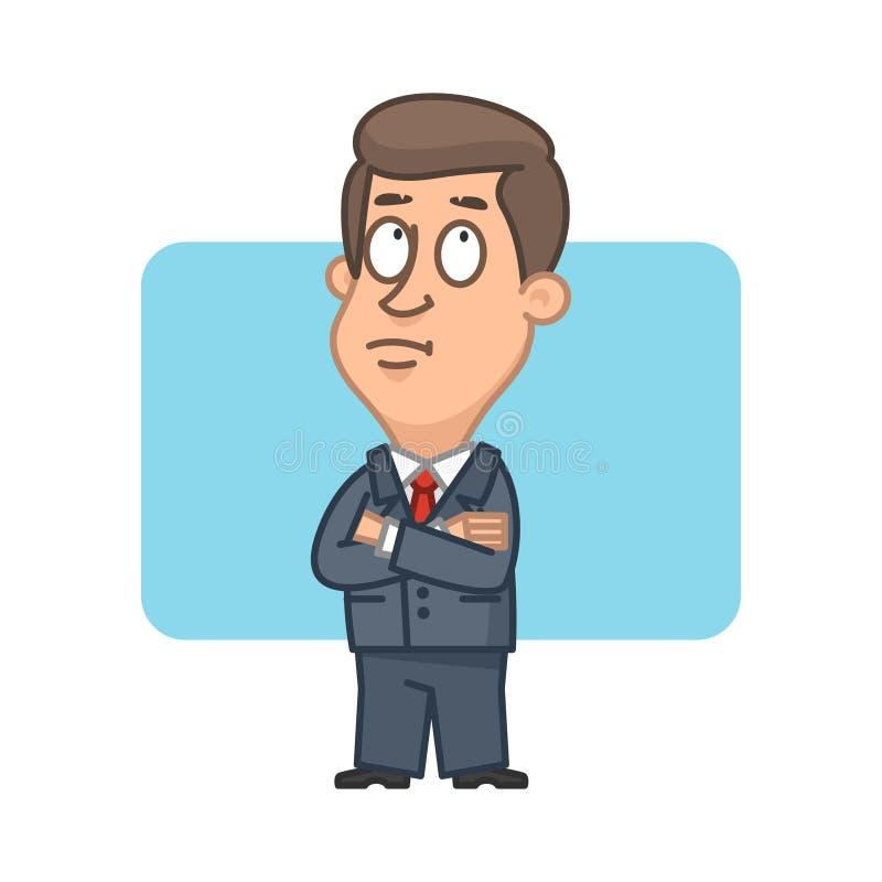 Homem de negócios com os braços cruzados e meditados ilustração royalty free