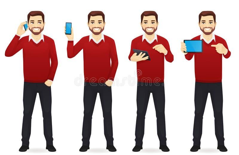 Homem de negócios com os dispositivos ajustados ilustração royalty free