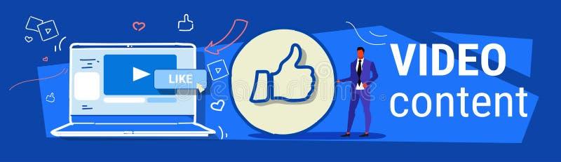Homem de negócios com os polegares acima do símbolo como do feedback social bem sucedido do mercado dos meios do ícone o portátil ilustração royalty free