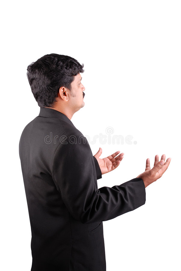Homem de negócios com palmas acima imagens de stock