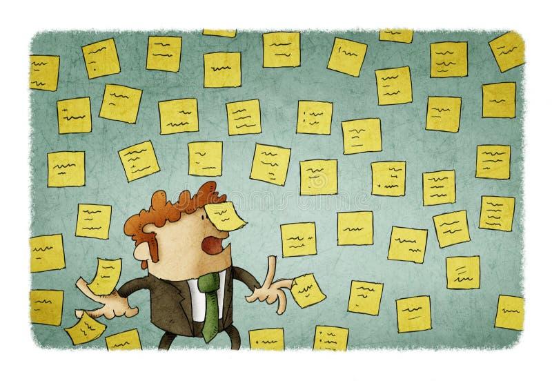 Homem de negócios com a parede completa de notas do lembrete, conceito de muito trabalho ilustração royalty free