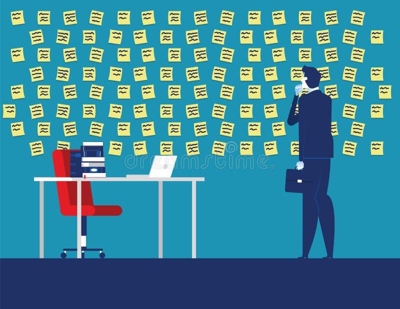 Homem de negócios com parede completamente de notas do lembrete Ilustra??o do vetor do neg?cio do conceito ilustração do vetor