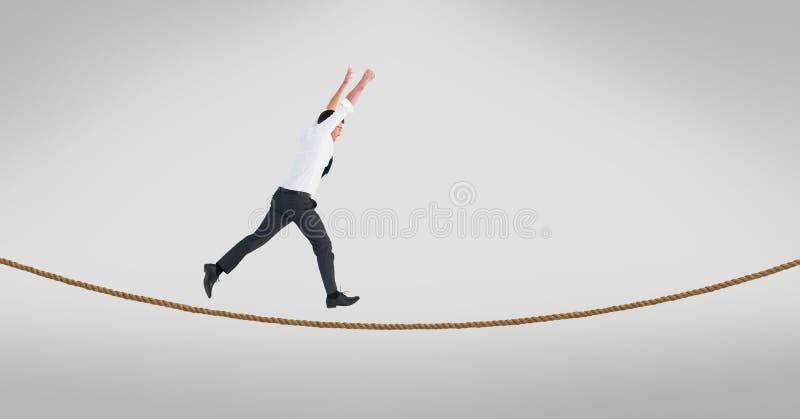 Homem de negócios com passeio levantado braços na corda-bamba ilustração do vetor