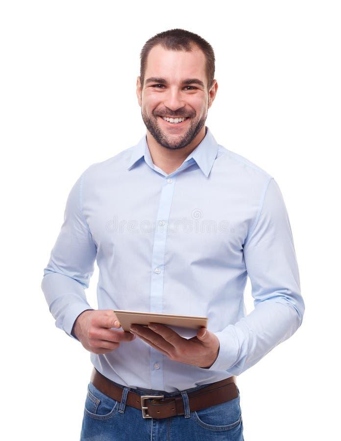 Homem de negócios com PC da tabuleta imagem de stock royalty free