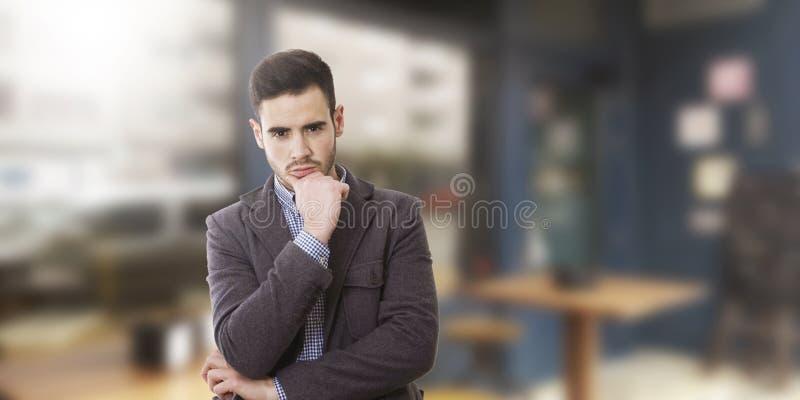Homem de negócios com pensativo imagem de stock royalty free