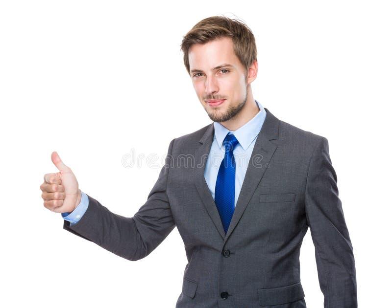 Homem de negócios com polegar acima imagens de stock royalty free