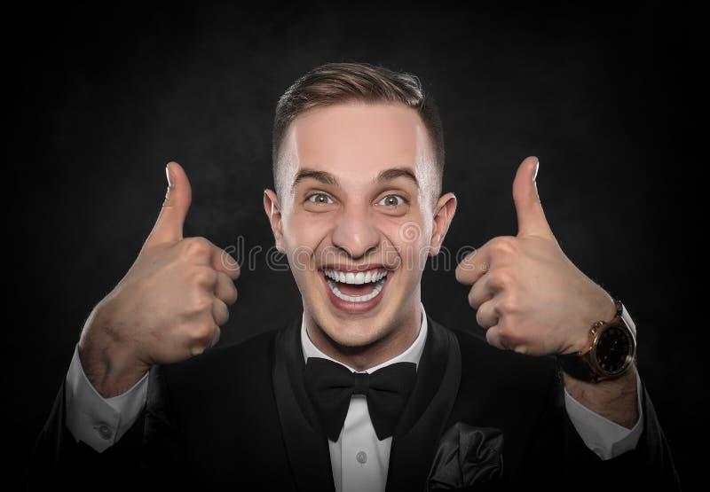 Homem de negócios com polegar acima foto de stock royalty free