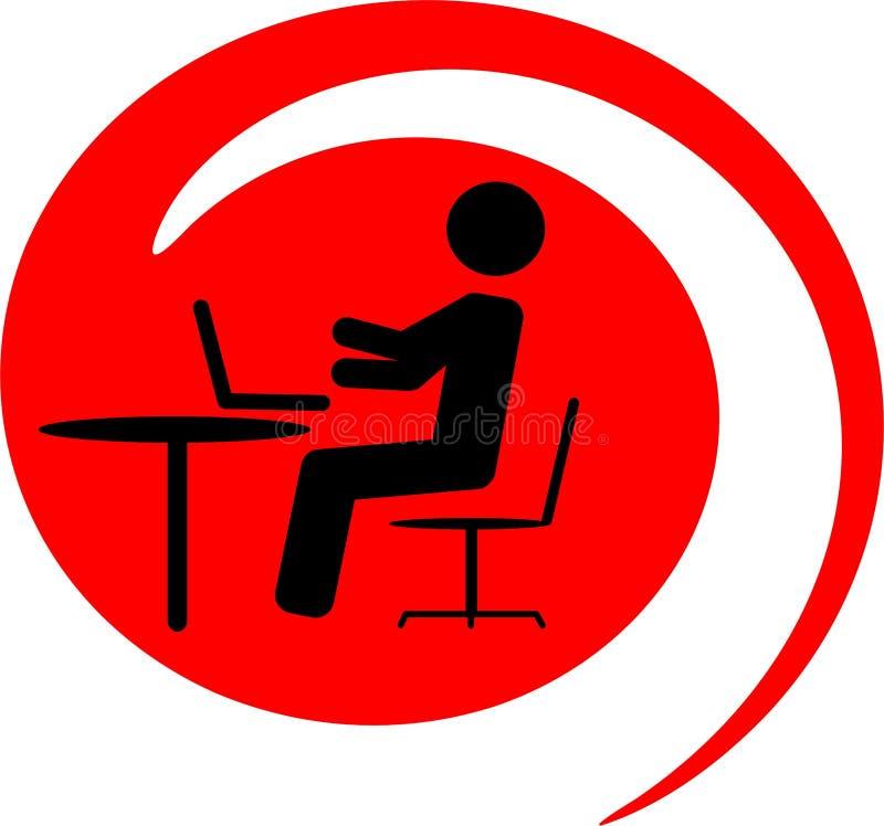 Homem de negócios com portátil ilustração stock