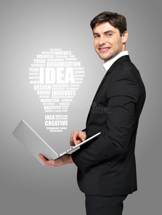 Homem de negócios com portátil e lâmpada fotos de stock royalty free