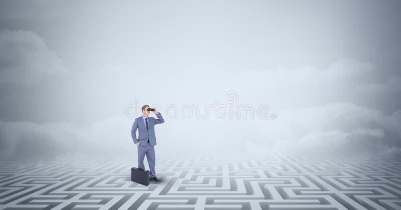 Homem de negócios com posição da pasta perdido no labirinto ilustração stock