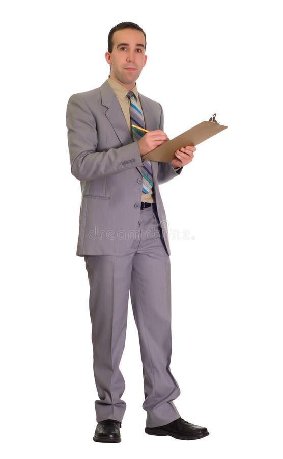 Homem de negócios com prancheta imagens de stock