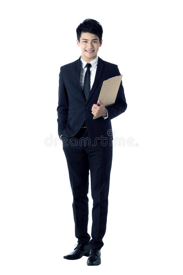 Homem de negócios com prancheta foto de stock royalty free