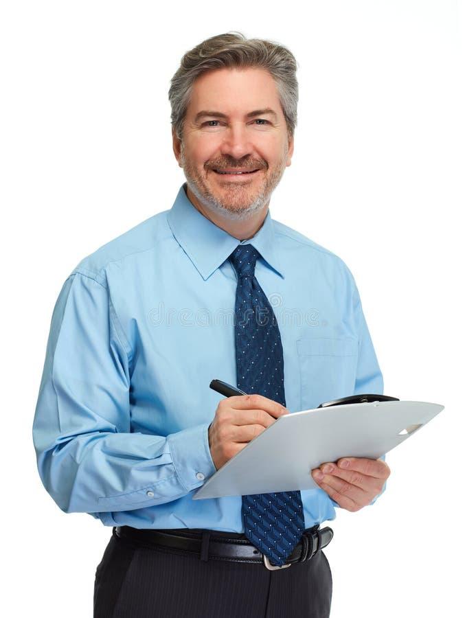 Homem de negócios com prancheta fotografia de stock