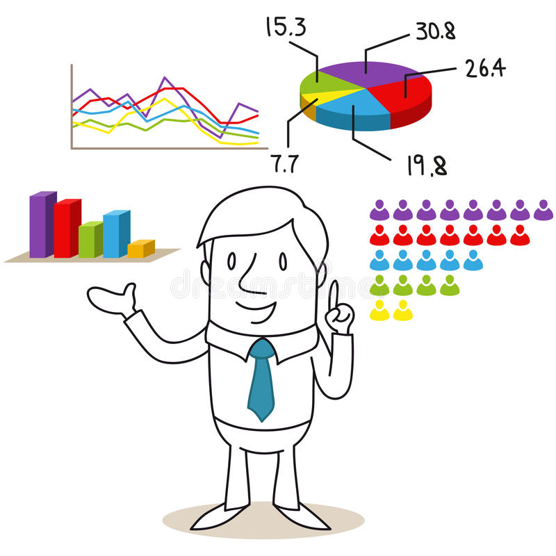 Homem de negócios com resultados e cartas de eleição ilustração stock