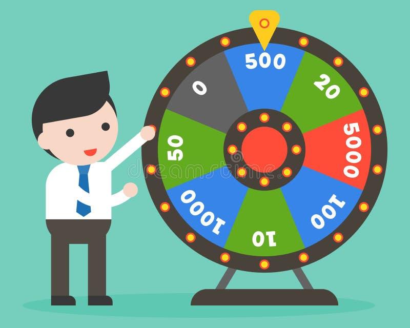 Homem de negócios com roda da fortuna, projeto liso ilustração do vetor