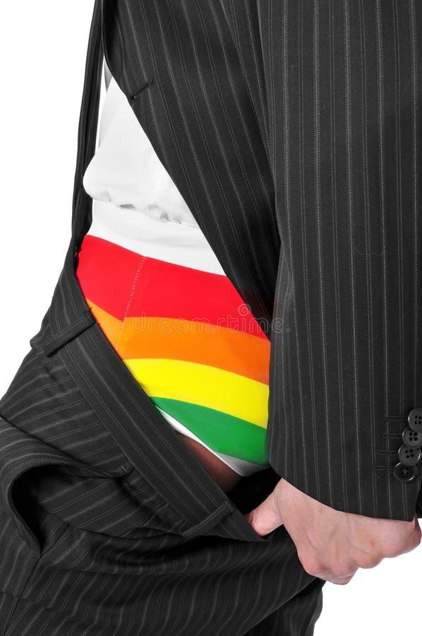 Homem de negócios com roupa interior do arco-íris foto de stock
