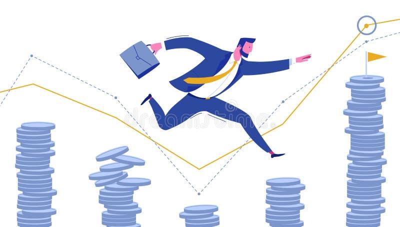 Homem de negócios com salto do portfólio ao objetivo do sucesso ilustração royalty free