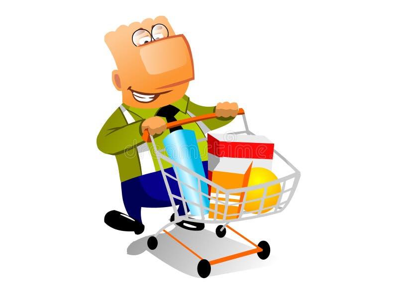 Homem de negócios com shopingcart ilustração royalty free