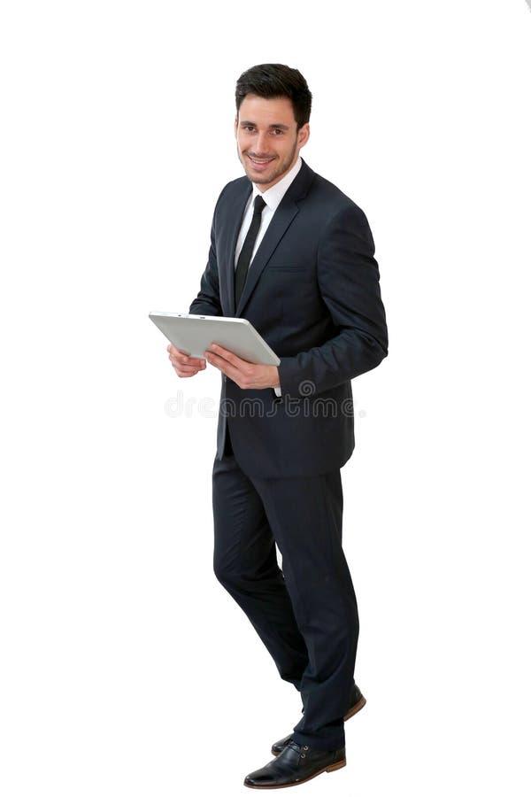 Homem de negócios com tabuleta fotos de stock royalty free
