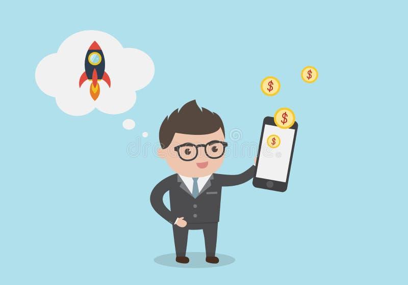 Homem de negócios com telefone celular - faça o dinheiro em linha Um Busin novo ilustração royalty free