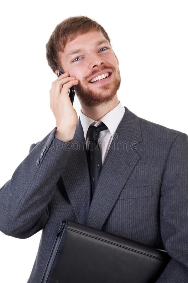 Homem de negócios com telefone esperto imagem de stock