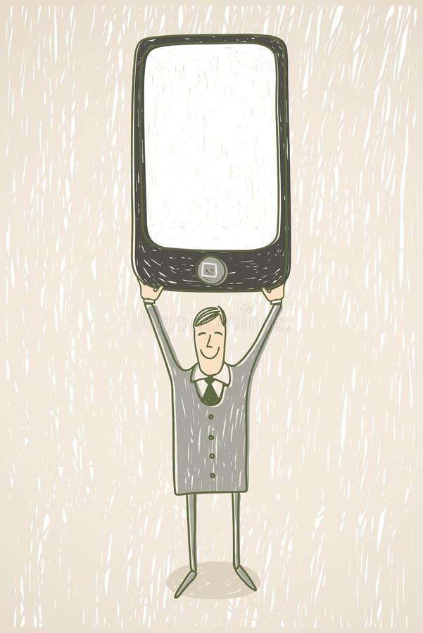 Homem de negócios com telefone móvel ilustração stock