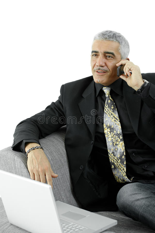 Homem de negócios com telefone móvel imagem de stock