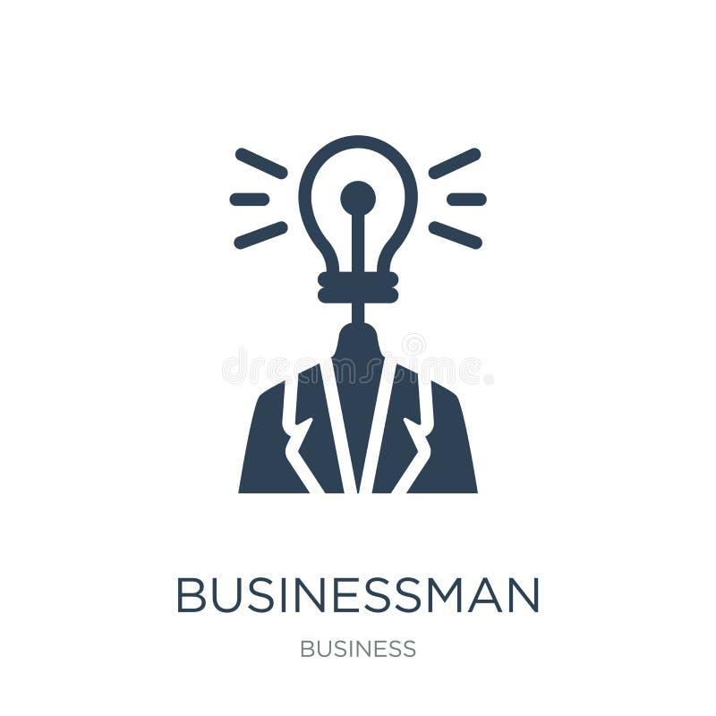 homem de negócios com um ícone da ideia no estilo na moda do projeto homem de negócios com um ícone da ideia isolado no fundo bra ilustração stock