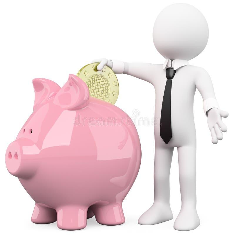 Homem de negócios com um banco piggy ilustração stock