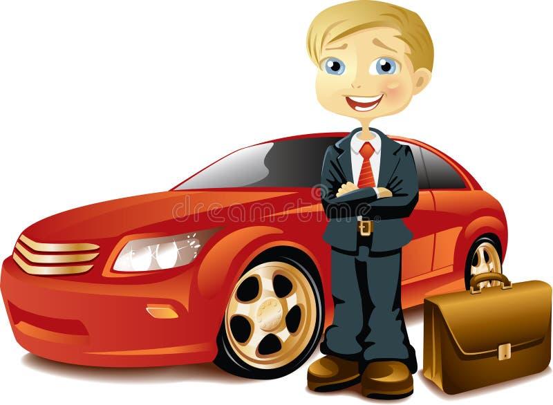 Homem de negócios com um carro ilustração royalty free