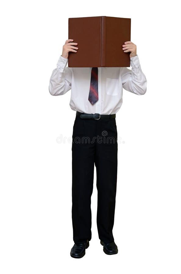 Homem de negócios com um livro em vez de uma cabeça fotografia de stock royalty free
