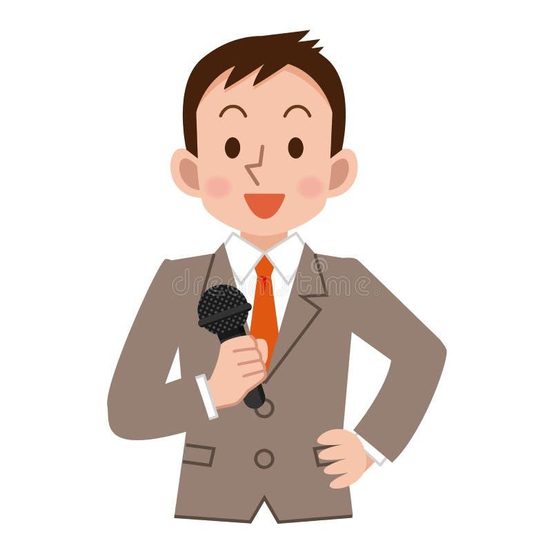 Homem de negócios com um microfone ilustração royalty free