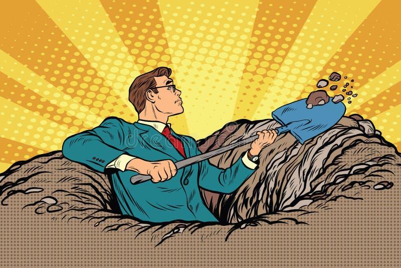 Homem de negócios com uma escavação da pá ilustração royalty free