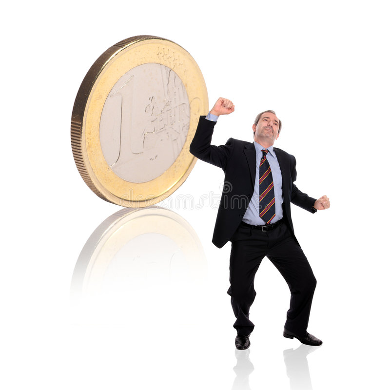 Homem de negócios com uma moeda fotos de stock royalty free