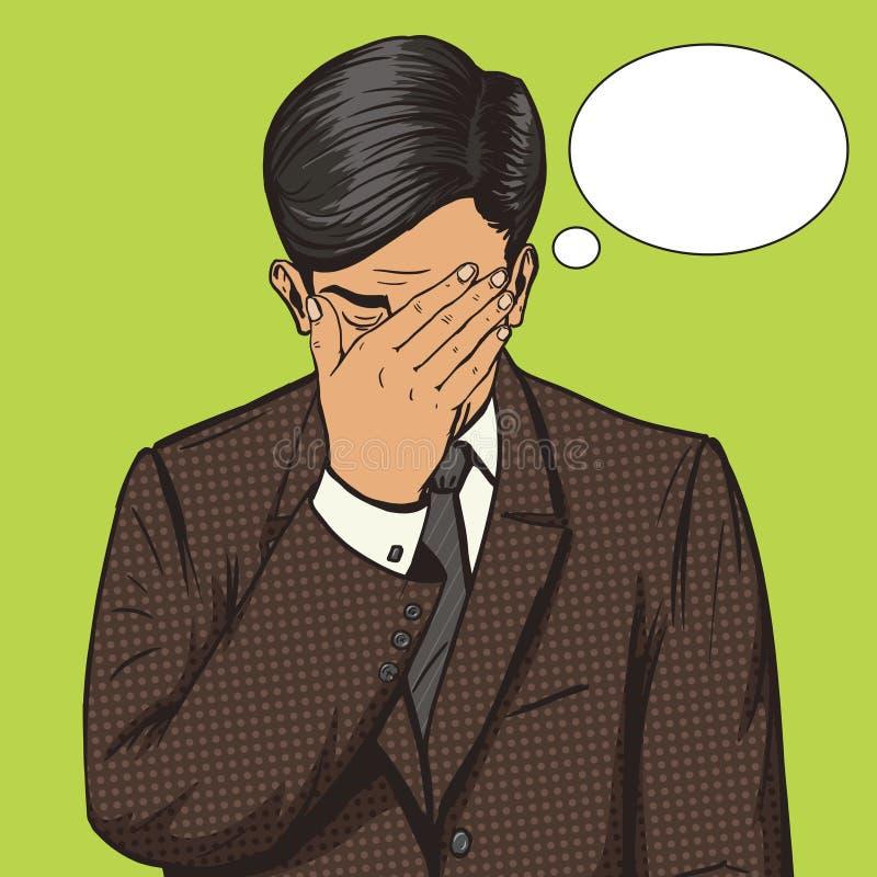 Homem de negócios com vetor do pop art do gesto do facepalm ilustração stock