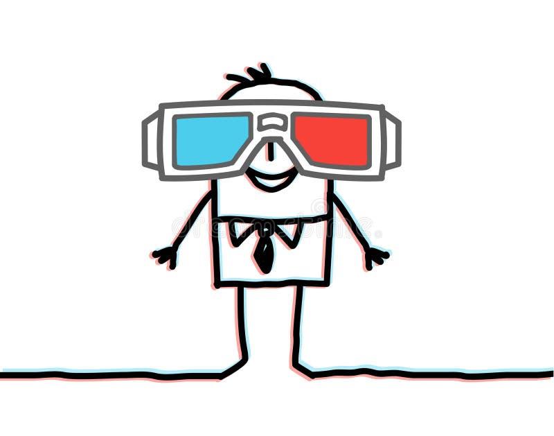 Homem de negócios com vidros 3D grandes