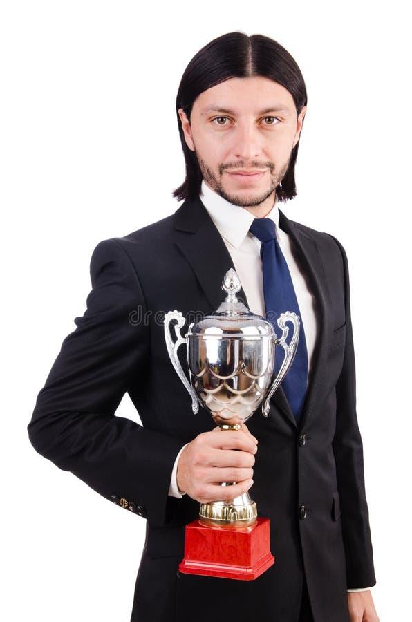 Homem de negócios concedido com copo premiado imagens de stock