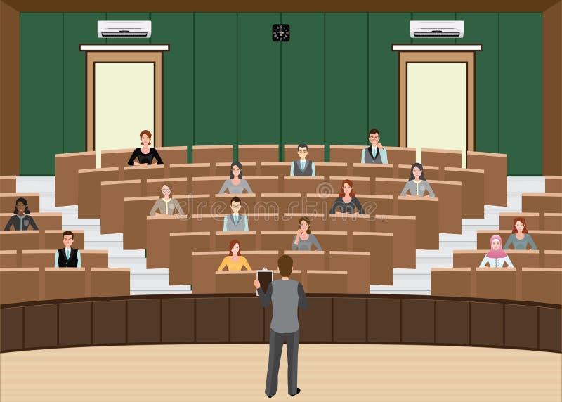 Homem de negócios Conference ou apresentação na conferência ha da audiência ilustração stock