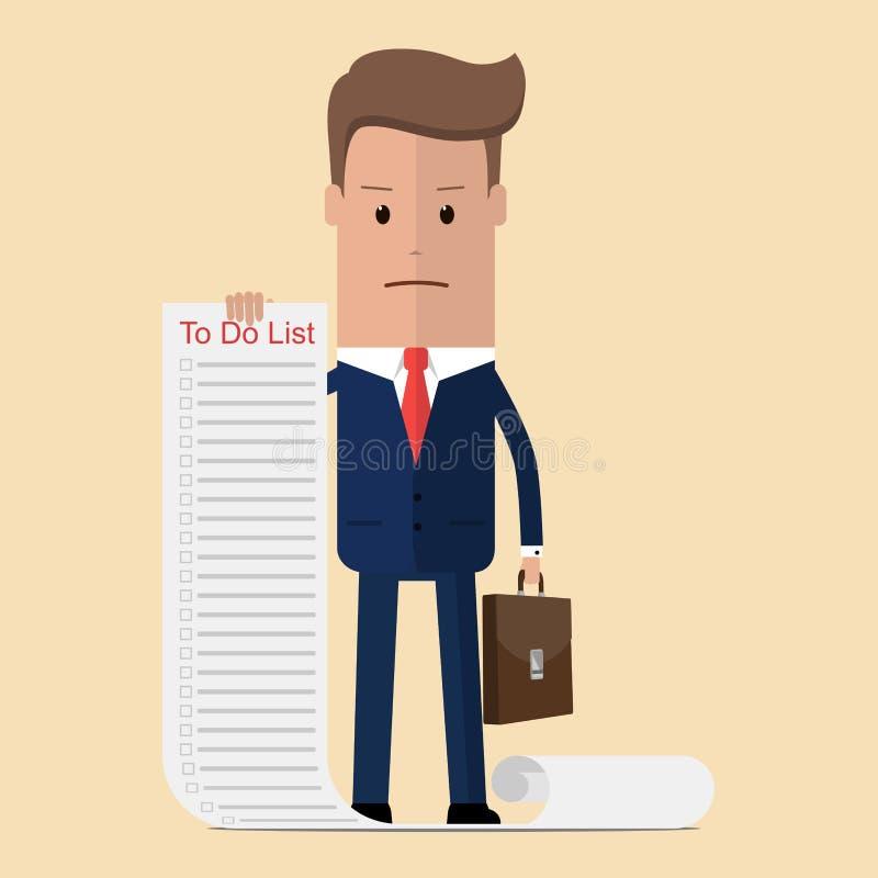 Homem de negócios confundido com a nota do papel longo com para fazer a lista, conceito do negócio em muitas coisas para fazer Il ilustração royalty free
