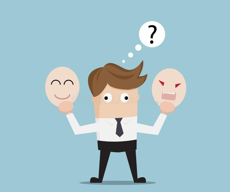 Homem de negócios Confused para a máscara irritada ou feliz seleta ilustração stock