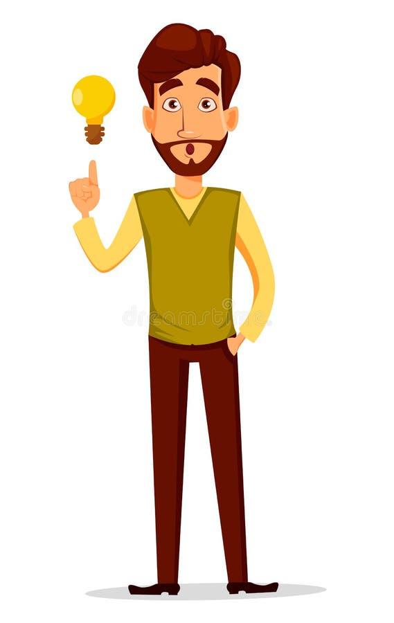 Homem de negócios considerável novo na roupa ocasional esperta com uma boa ideia ilustração stock