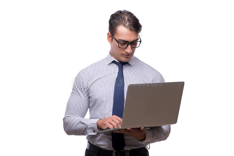Homem de negócios considerável que trabalha com o laptop isolado no wh fotografia de stock