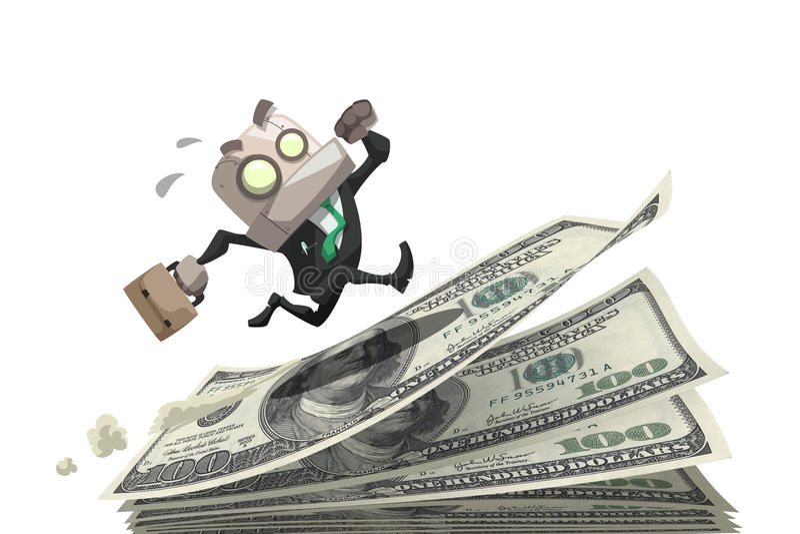 Homem de negócios corrido no dinheiro ilustração royalty free