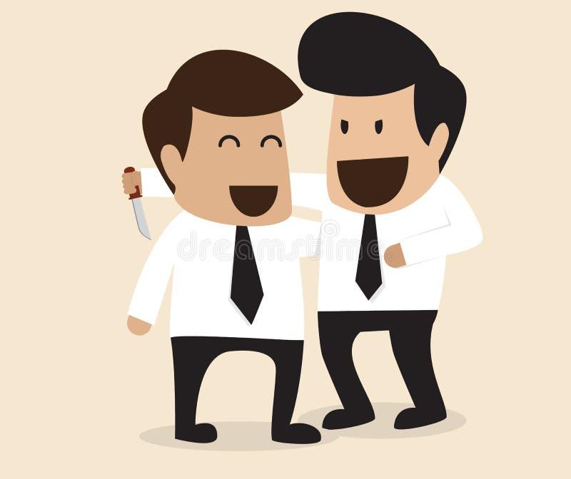 Homem de negócios cortante seu amigo na parte traseira ilustração royalty free