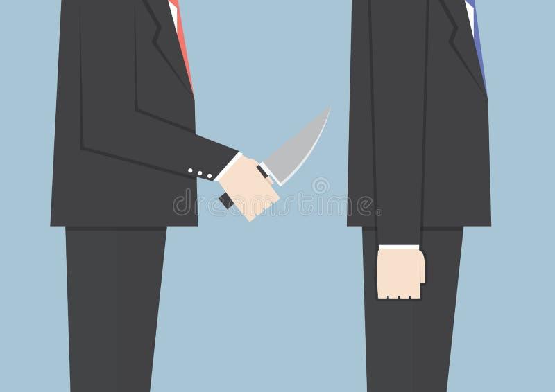 Homem de negócios cortante seu amigo na parte traseira ilustração do vetor